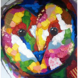 Tablou multicolor din canvas si lemn 90x90 cm Hope Ter Halle