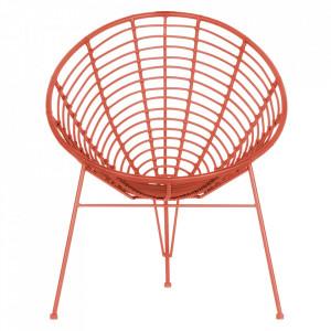 Scaun lounge rosu din polietilena si metal pentru exterior Jane Woood