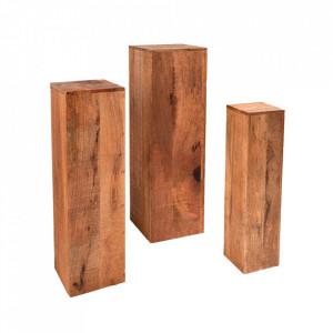 Set 3 piedestaluri maro din lemn de mango Makassar Invicta Interior
