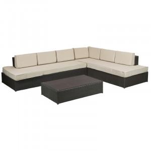 Set canapea si masa cafea din ratan si aluminiu pentru exterior Somara Santiago Pons
