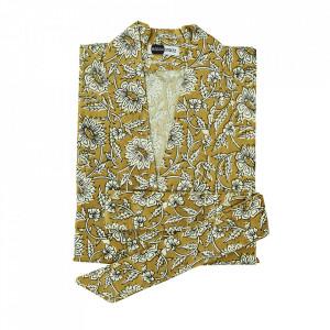 Kimono galben/alb din bumbac Hashima Madam Stoltz