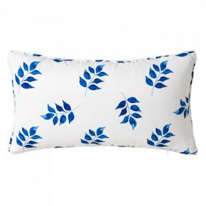 Perna decorativa dreptunghiulara alba/albastra din poliester 30x50 cm Dennis Unimasa