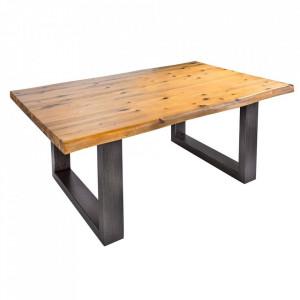 Masuta maro/neagra din lemn de salcam si metal pentru cafea 70x110 cm Genesis Invicta Interior