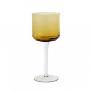 Pahar maro chihlimbar din sticla pentru vin 8x19 cm Retro Nordal