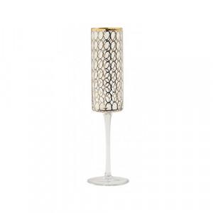 Pahar transparent/auriu din sticla pentru sampanie 5x26 cm Circle Nordal