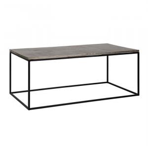 Masa argintie/neagra din aluminiu si fier pentru cafea 65x120 cm Lanson Richmond Interiors