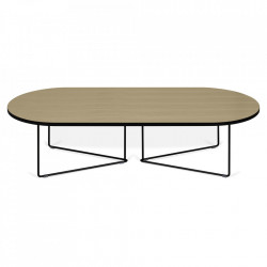 Masuta maro/neagra din lemn si otel 60x136 cm Oval TemaHome
