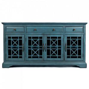 Bufet inferior albastru din lemn de salcam si MDF 153 cm Avola Livin Hill