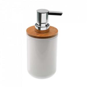 Dispenser sapun lichid alb/maro din polistiren si lemn 7,2x16 cm Bambu Versa Home