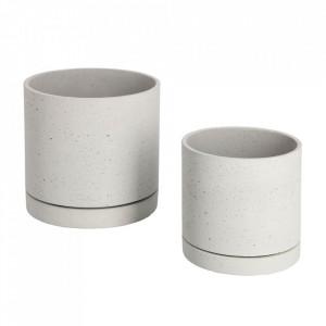 Set 2 ghivece albe din ciment Kawanti La Forma