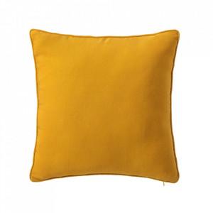 Perna decorativa patrata galbena din poliester si bumbac 45x45 cm Loving Colours Unimasa