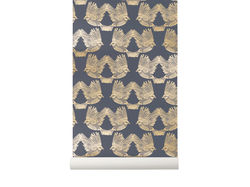 Rola tapet auriu 53x1000 cm Birds Deep Blue Gold Ferm Living