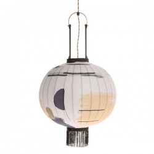 Lustra din lemn de bambus, textil si plastic Lantern Brush M HK Living