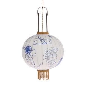 Lustra din lemn de bambus si textil Lantern Pencil M HK Living