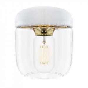 Abajur alb din aluminiu si sticla Acorn Polished Brass Umage