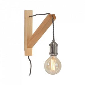 Aplica maro/argintie din lemn si metal Birch Steinhauer