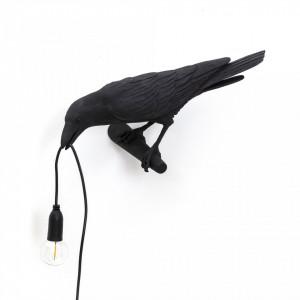 Aplica neagra din rasina Bird Looking Seletti