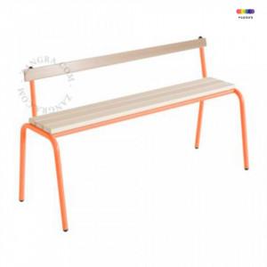Banca portocalie/maro din lemn si metal 120 cm Cindy Zangra