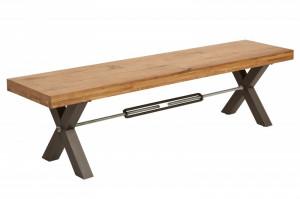 Bancheta maro din lemn de stejar si metal 180 cm Thor Invicta Interior
