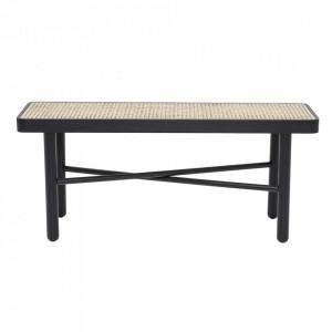 Bancheta maro/neagra din lemn de fag si trestie 100 cm Luna Bloomingville