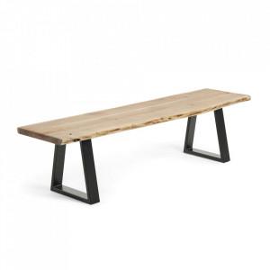 Bancheta maro/neagra din lemn de salcam si otel 160 cm Alaia La Forma