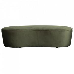 Bancheta verde din catifea 162 cm Macaroni Onyx Be Pure Home