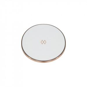 Baterie externa wireless alba/roz din policarbonat si aluminiu Unifier Umage