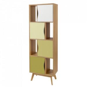 Biblioteca multicolora din lemn si MDF 191 cm Avon Narrow Olive Woodman