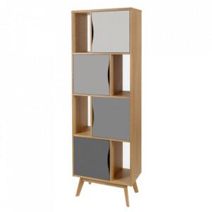 Biblioteca multicolora din lemn si MDF 191 cm Avon Narrow Standard Woodman