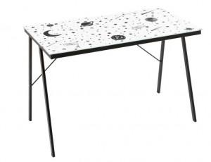 Birou alb/negru din metal si sticla 60x110 cm Universe Unimasa
