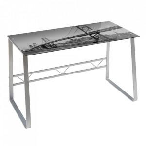 Birou gri/argintiu din sticla si metal 60x120 cm Skyline Unimasa