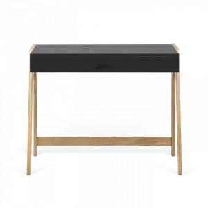 Birou maro/negru din lemn de stejar si PAL 53x94 cm Aura TemaHome