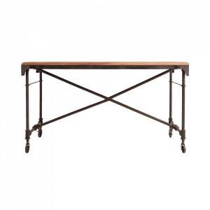 Birou maro/negru din lemn si fier 70x140 cm Oban Vical Home