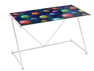 Birou multicolor din metal si sticla 60x120 cm Space Unimasa