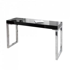 Birou negru/argintiu din MDF si metal 40x120 Gloss Invicta Interior