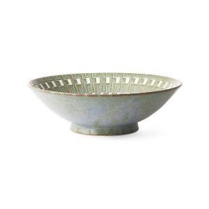 Bol verde/alb din ceramica 25 cm Kyoto Japanese Salad HK Living