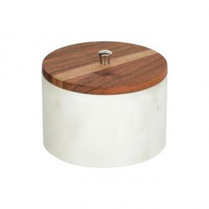 Borcan cu capac alb/maro din marmura si lemn de salcam 500 ml Karla Kave Home
