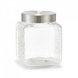 Borcan cu capac transparent/argintiu din sticla si plastic 1800 ml Honeycomb Zeller