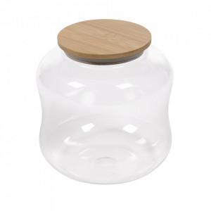 Borcan cu capac transparent din sticla si bambus 3,4 L Cirene Kave Home