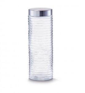 Borcan transparent/argintiu cu capac din sticla si inox 2 L Grooved Jar XL Zeller
