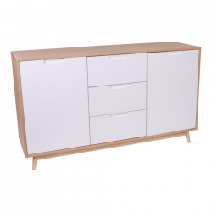 Bufet inferior alb/maro din lemn de pin si MDF 150 cm Copenhagen House Nordic