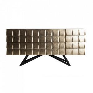 Bufet inferior auriu/negru din lemn si marmura 180 cm Tropic Vical Home