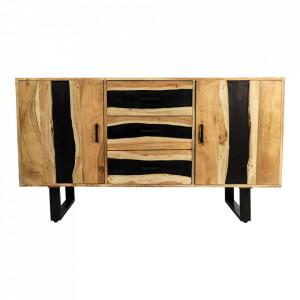 Bufet inferior maro/negru din lemn si fier 150 cm Vienna HSM Collection