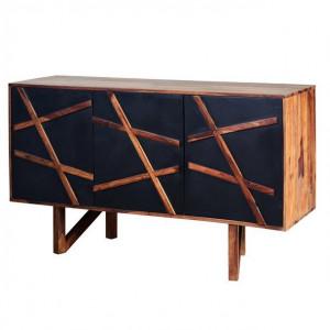 Bufet inferior negru/maro din lemn de palisandru indian 140 cm Kanpur Giner y Colomer