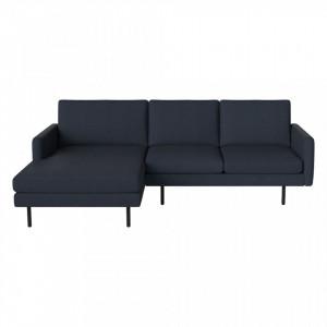 Canapea albastra cu colt 246 cm din poliester si lemn Remix Dark Left Bolia