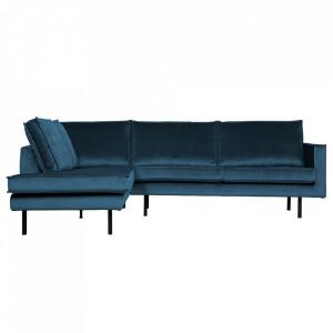 Canapea albastra din catifea cu colt 266 cm Rodeo Left Be Pure Home