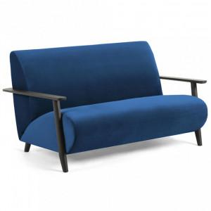 Canapea albastru inchis din lemn si catifea 146 cm Marthan La Forma