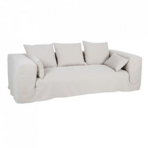 Canapea bej din in si lemn 245 cm Lostock Denzzo