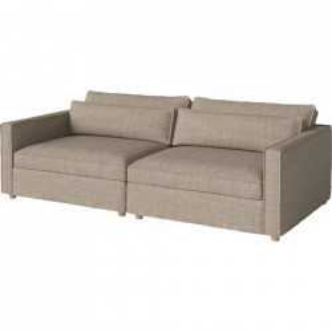 Canapea bej nisipiu din bumbac si lemn 242 cm Aya Bolia