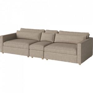 Canapea bej nisipiu din bumbac si lemn 297 cm Aya Bolia